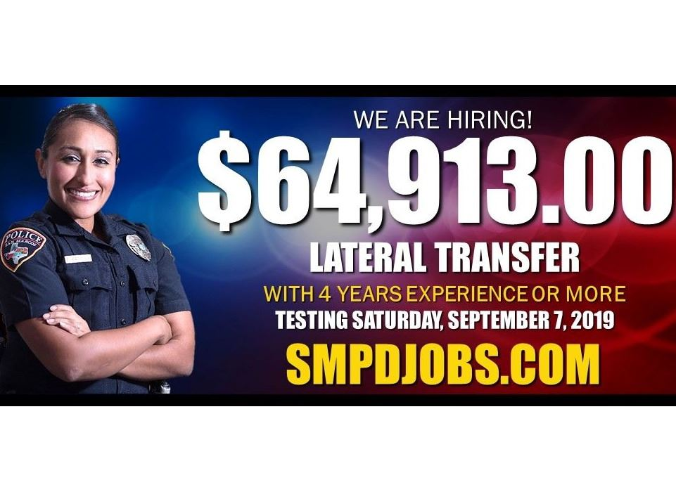 Police Department Billboard: We Are Hiring! Visit SMPDJOBS.COM for more information.