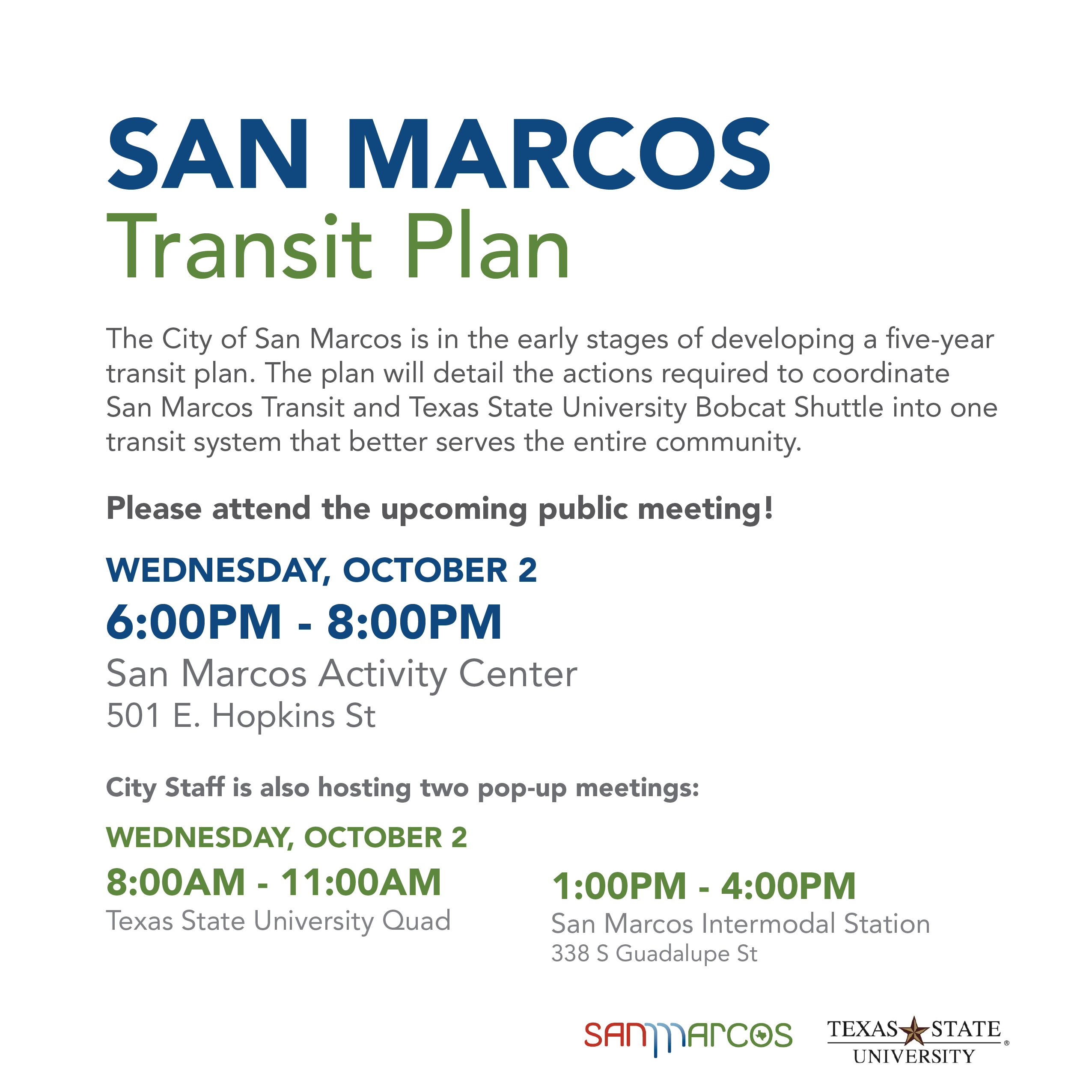 October 2, Transit five-year plan community meeting information