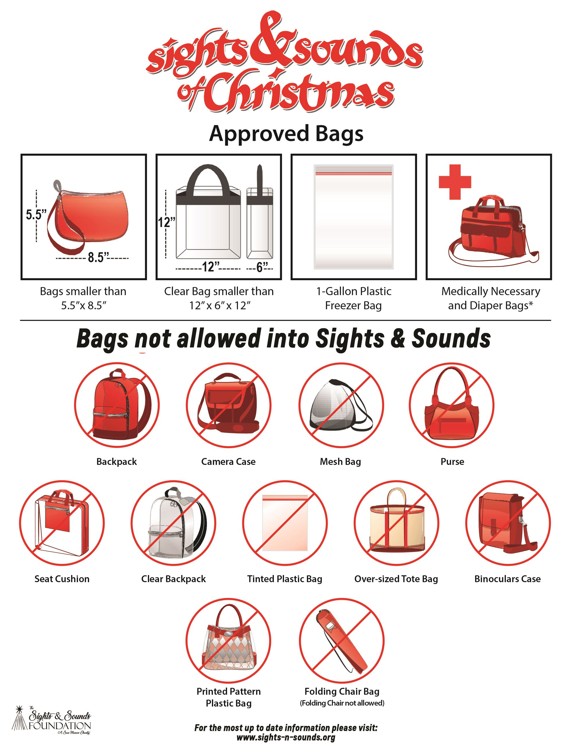 A chart showing illustrations of bags permitted and not permitted at the event. The list of bags in