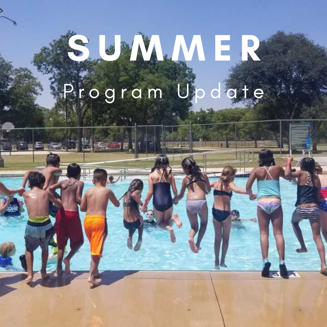 Summer program update text with pic of children jumping in the pool