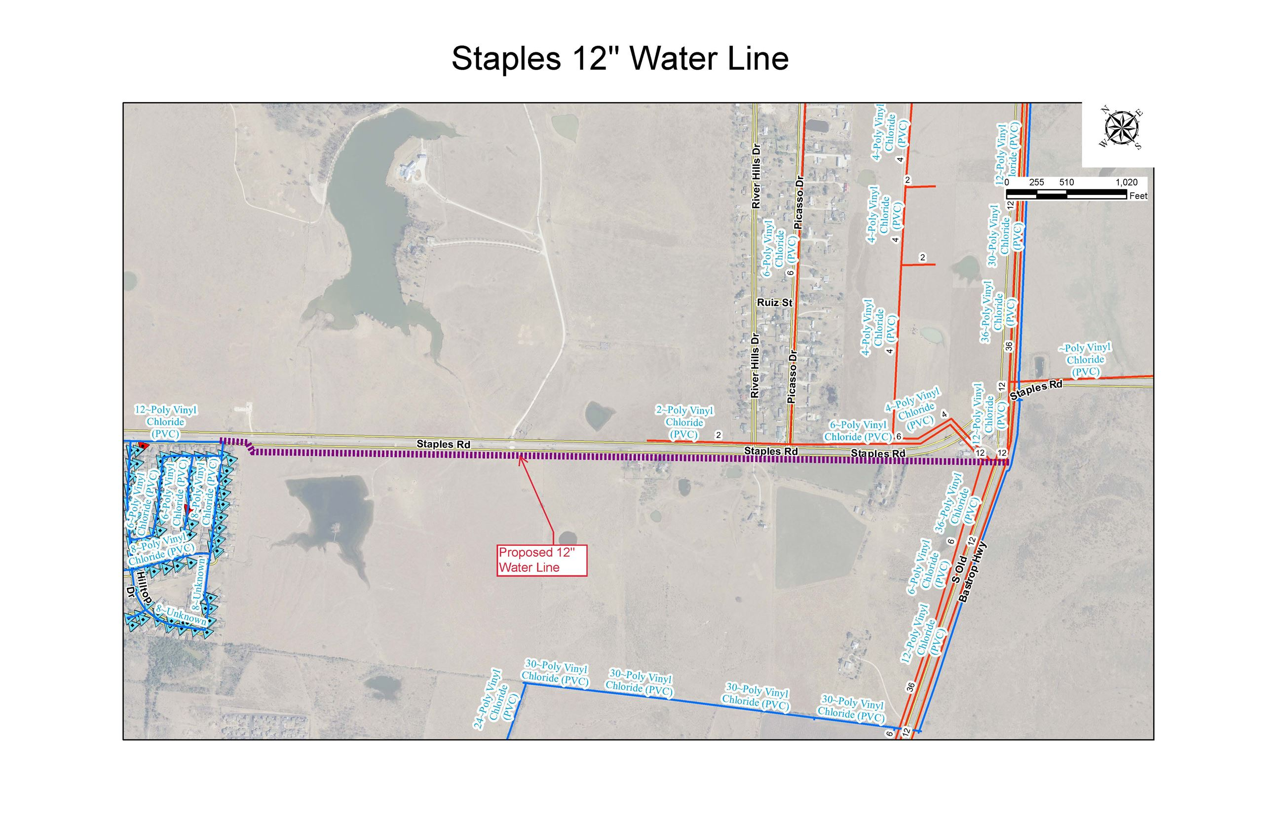Staples-LocationMapWaterLineProject