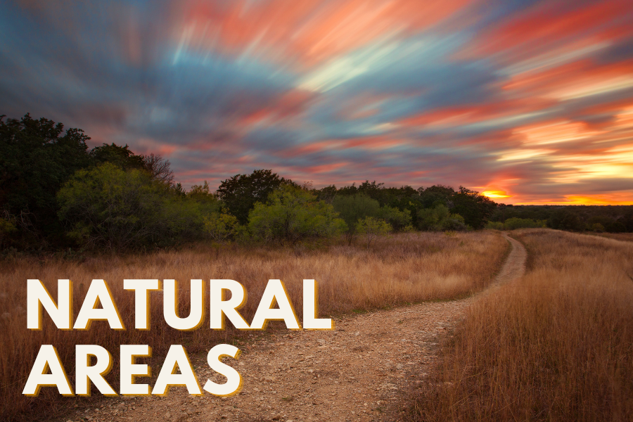 NATURAL AREAS text over image of Dantes Trail