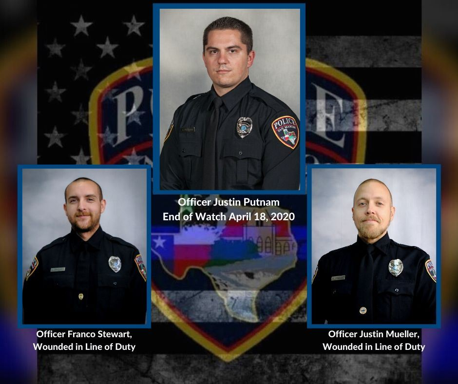 photos of three police officers with San Marcos PD; one who was killed and two were wounded
